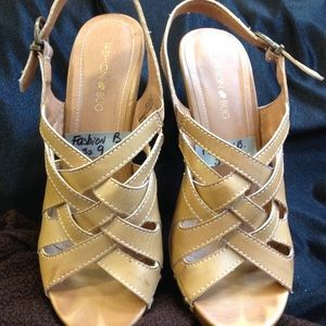 Tan Criss Cross Studded Leather Sandals.
